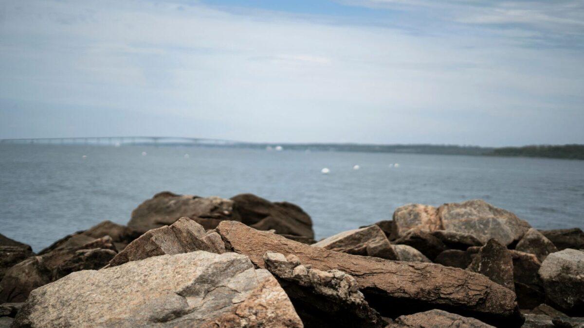 The rocky beach at Narragansett Rhode Island