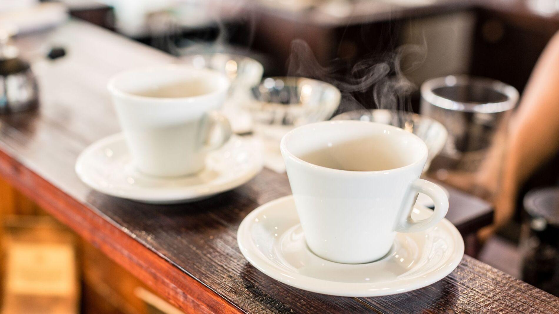 Coffee on the bar at a Narragansett breakfast restaurant